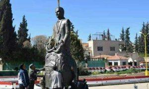 نصب تمثال حافظ الأسد في مدينة درعا- 10 آذار 2019 (فيس بوك)
