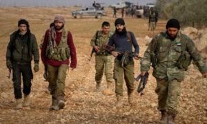 عناصر من فصائل الجبش الحر في ريف حلب الشمالي - 2016 (انترنت)
