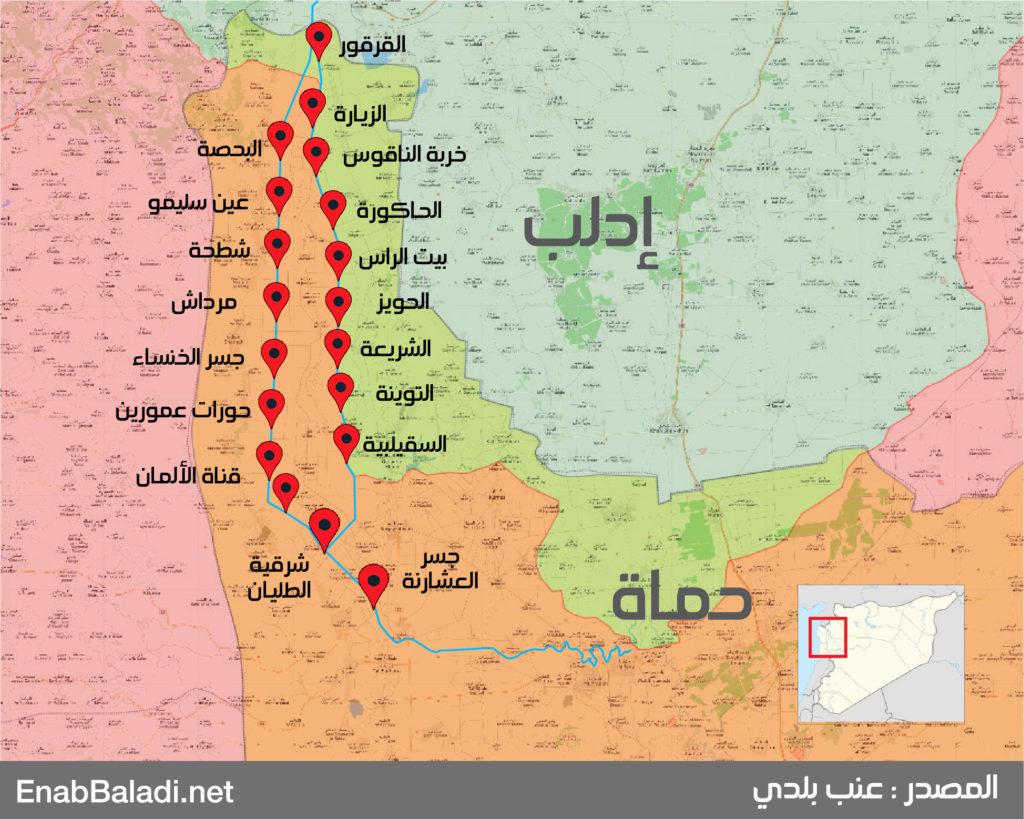 خريطة توضح أماكن الجسور على نهر العاصي (عنب بلدي)