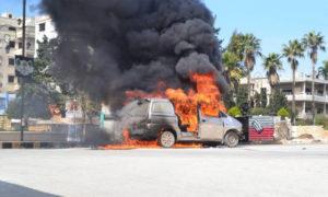 انفجار عبوة ناسفة في سيارة نوغ فاع بالقرب من دوار الجرة وسط إدلب - 22 من آذار 2019 (ناشطون عبر فيس بوك)