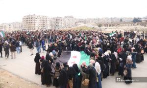 مظاهرة لطلاب جامعة إدلب بمناسبة الذكرى الثامنة للثورة السورية في إدلب - 18 من آذار 2019 (عنب بلدي)