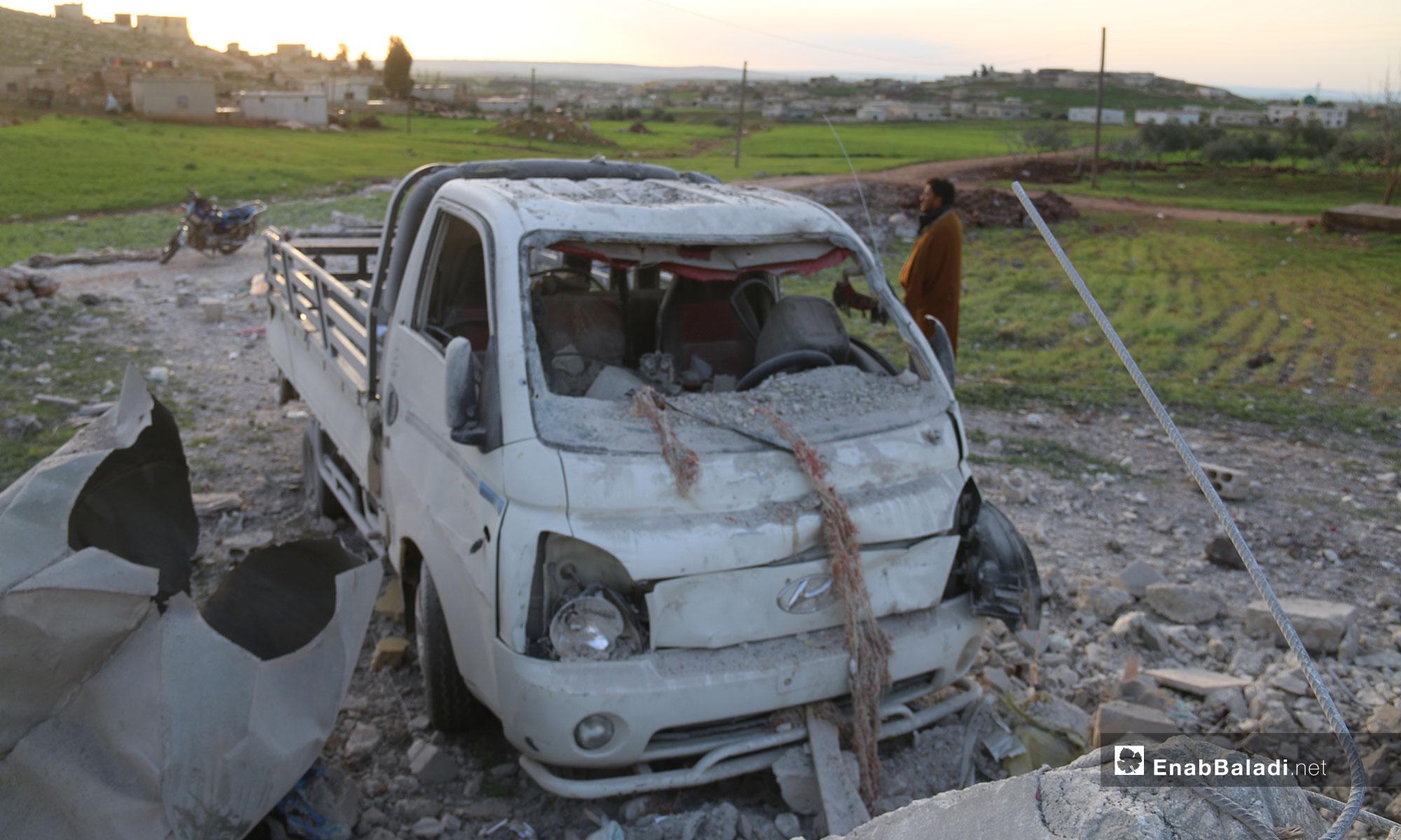 آثار الدمار على بلدة الفقيع جنوب إدلب نتيجة القصف - 21 من آذار 2019 (عنب بلدي)