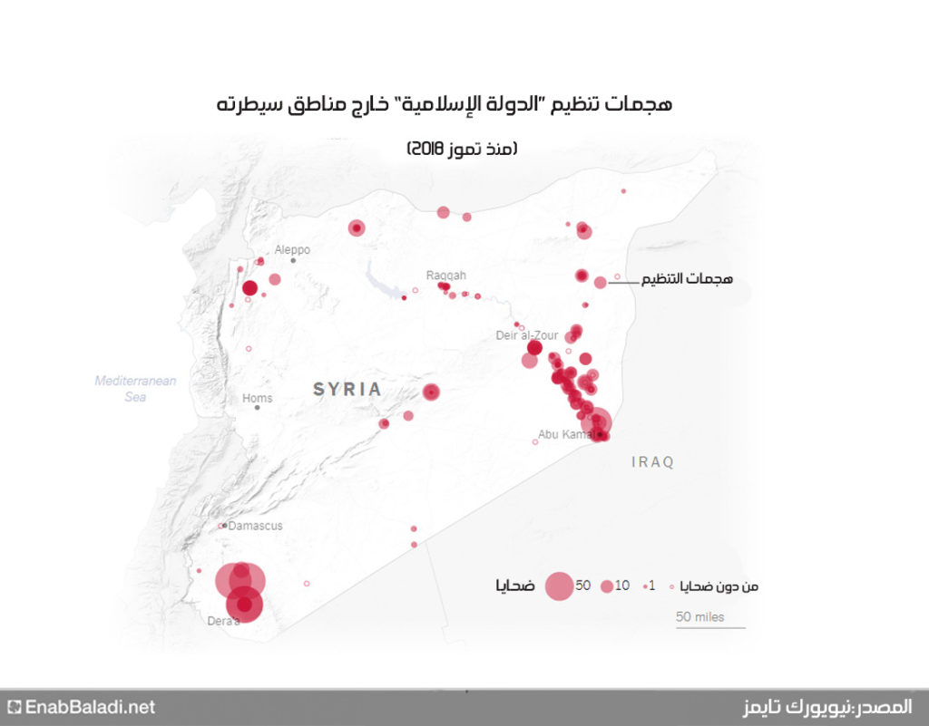 """توزع هجمات تنظيم """"الدولة"""" في المناطق الخارجة عن سيطرته من سوريا، منذ تموز 2018 (نيويورك تايمز)"""