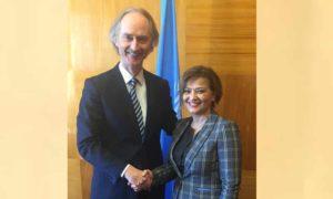 المبعوث الأممي إلى سوريا غير بيدرسون ومستشارة الأمم المتحدة للشؤون الإنسانية نجاة رشدي (UN)
