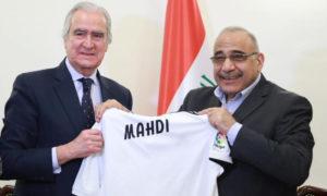 ممثلو نادي ريال مدريد يلتقون مع رئيس مجلس الوزراء العراقي عادل عبد المهدي (مكتب مجلس الوزراء الإعلامي)