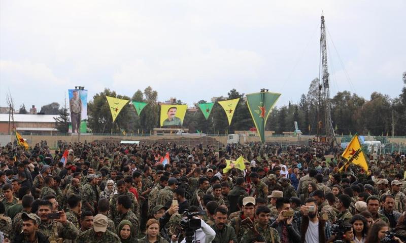 احتفال قسد بهزيمة تنظيم الدولة شرق سوريا - 28 من آذار 2019 (وكالة هاوار)