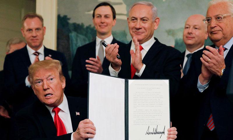مؤتمر صحفي لرئيس الولايات المتحدة دونالد ترامب ورئيس وزراء إسرائيل بنيامين نتنياهو في واشنطن للاعتراف بالجولان - 25 من آذار 2019 (رويترز)
