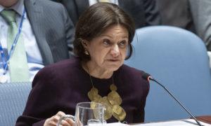 رئيسة الشؤون السياسية وإقامة السلام روزماري دي كارلو أثناء تقديمها لملخص عن الأوضاع في الشرق الأوسط لمجلس الأمن - 27 آذار 2019 (الأمم المتحدة)