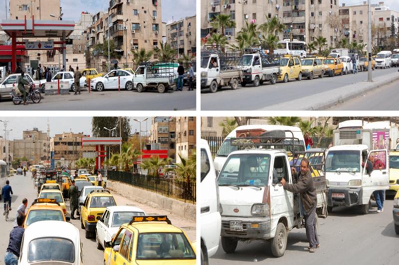 زحام امام محطات الوقود في دمشق 6 نيسان 2019 (صحيفة تشرين)