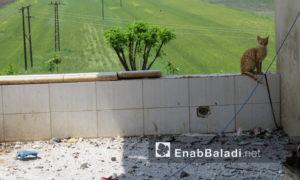 الدمار الناجم عن استهداف الطيران الحربي الروسي لقرية الحواش في ريف حماة الشمالي- 28 من نيسان 2019 (عنب بلدي)