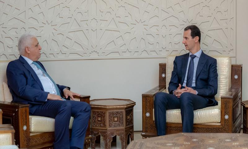 رئيس النظام السوري، بشار الأسد، يلتقي مستشار الأمن الوطني العراقي فالح الفياض (رئاسة الجمهورية)