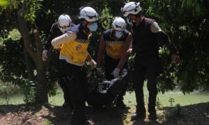 فرق الدفاع المدني تنتشل جثة طالبة جامعية غرقت في نهر العاصي في منطقة دركوش - 28 نيسان 2019 (الدفاع المدني)
