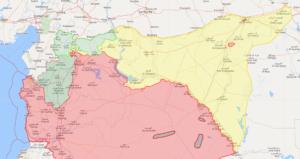 خريطة توضح مناطق نفوذ قوات سوريا الديمقراطية (بالأصفر) شمال شرقي سوريا - 25 نيسان 2019 (Livemap)