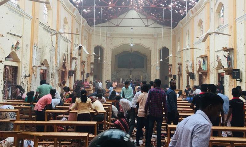 كنيسة القديس سيباستيان في سيرلانكا عقب التفجير فيها - 21 نيسان 2019 (صفحة الكنيسة في فيس بوك)