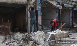 السوق الشعبي القديم في مدينة إدلب أثناء عمليات الترميم نيسان 2019 (عنب بلدي)