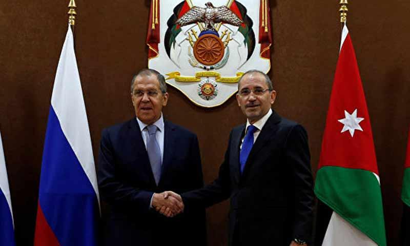 وزير الخارجية الروسية سيرغي لافروف مع نظيره الأردني، أيمن الصفدي في العاصمة عمان 7 نيسان 2019 (سبوتنيك)