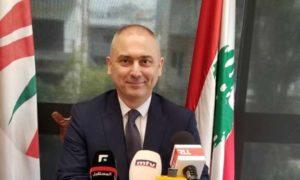 """حركة """"التغيير"""" اللبنانية إيلي محفوض في مؤتمر صحفي 7 نيسان 2019 (الوكالة الوطنية)"""