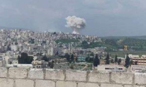 صواريخ روسية استهدفا مدينة جسر الشغور غربي إدلب 8 نيسان 2019 (أمجاد الأخبارية)