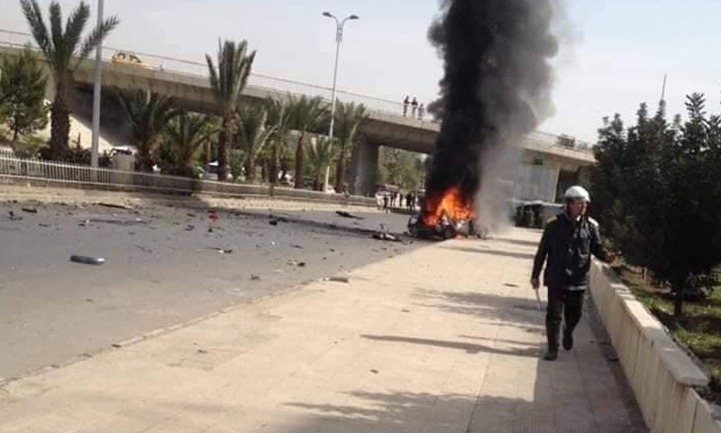 تفجير في محلة نهر عيشية جنوبي العاصمة دمشق ناجم عن سيارة مفخخة 24 نيسان 2019 (يوميات قذيفة هاون)