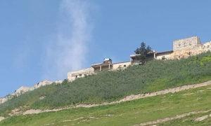 قصف مدفعي من قوات الأٍد استهدف نقطة تابعة لها في نقطة حابوسة بقلعة المضيق غربي حماة 24 نيسان 2019 (كفرنبل نيوز)