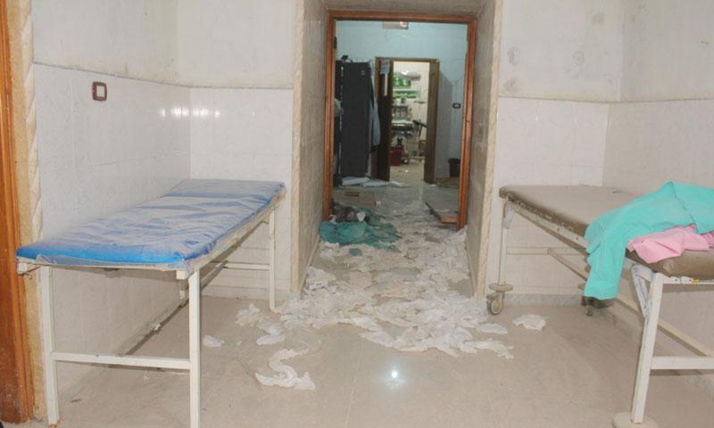 مشفى اللطامنة الجراحي شمالي حماة بعد استهدافه بغارات روسية 29 نيسان 2019 (مديرية صحة حماة الحرة)