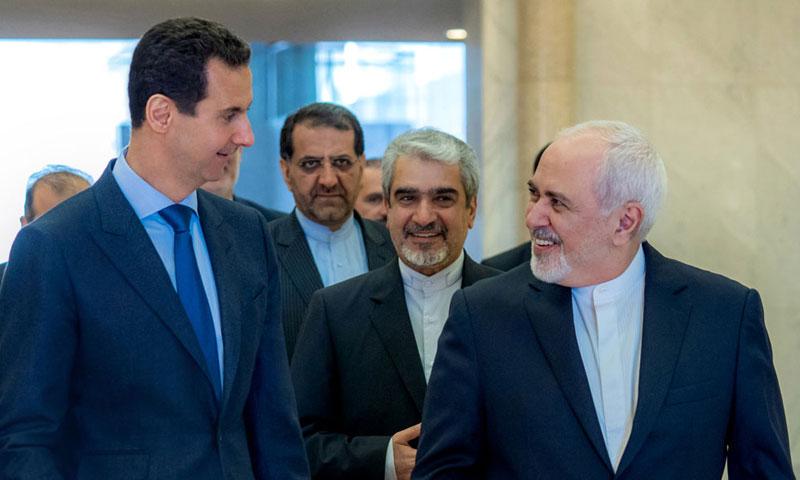 وزير الخارجية الإيراني في لقاء مع رئيس النظام السوري بشار الأسد في العاصمة دمشق 16 نيسان 2019 (سانا)