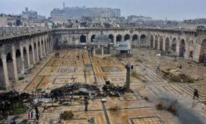 دمار الجامع الأموي في حلب - 13 كانون الأول 2016 (AFP)