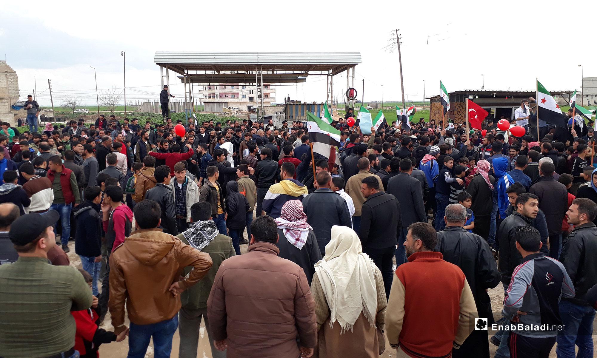 مظاهرات ضد فساد المجلس المحلي في ناحية صوران بريف حلب الشمالي - 5 من نيسان 2019 (عنب بلدي)