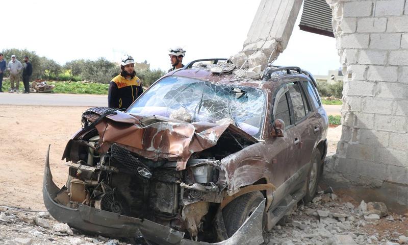 حادث مروري في مدينة سراقب جنوبي إدلب- 12 من نيسان 2019 (الدفاع المدني)