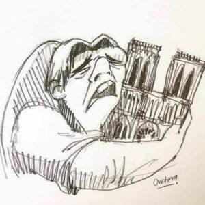 رسم كاريكاتير لاحدب نوتردام 15 نيسان 2019 (إنترنت)
