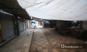 إغلاق المحال التجارية في سراقب بريف إدلب خوفًا من القصف - 26 من نيسان 2019 (عنب بلدي)