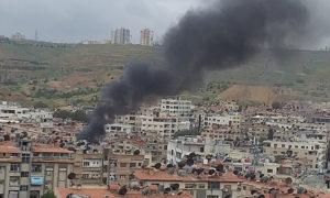 انفجار سيارة مفخخة في مدينة قدسيا غربي دمشق - 16 من نيسان 2019 (فيس بوك)