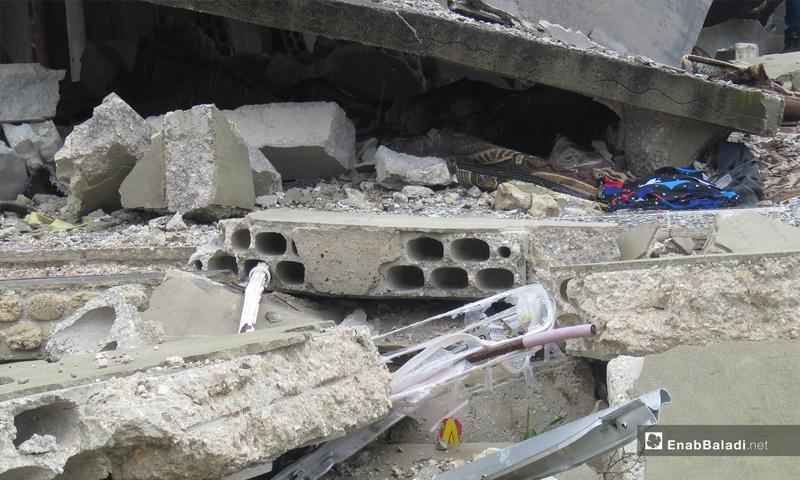 أثار الدمار في قرية الشريعة بسهل الغاب في ريف حماة – 31 من آذار 2019 (عنب بلدي)