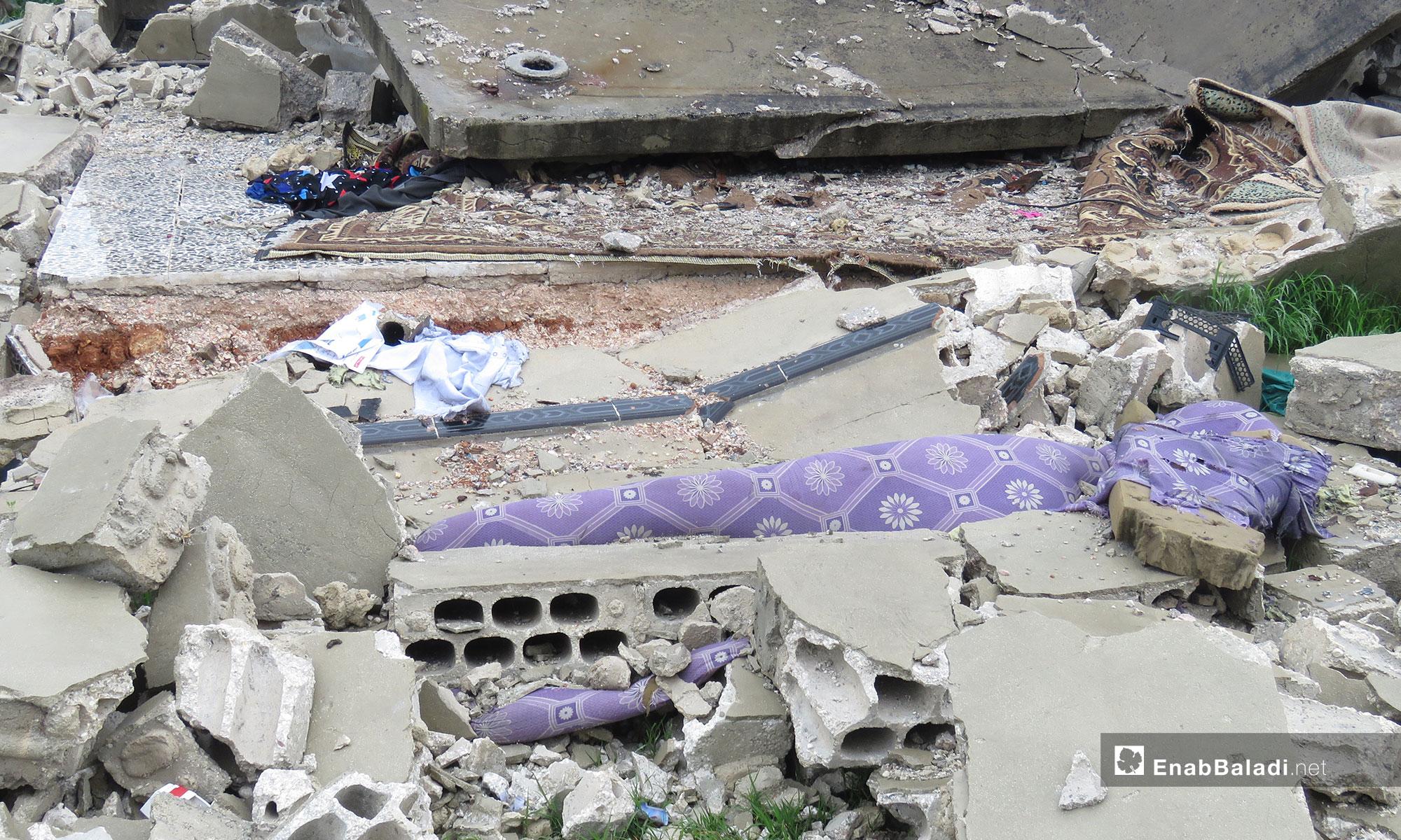 أثار الدمار في قرية الشريعة بسهل الغاب في ريف حماة - 31 من آذار 2019 (عنب بلدي)