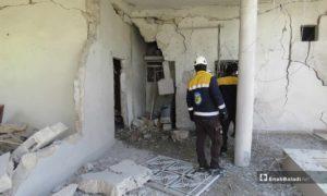 آثار الدمار الذي خلفه قصف النظام على قلعة المضيق بريف حماة - 25 من نيسان 2019 (عنب بلدي)