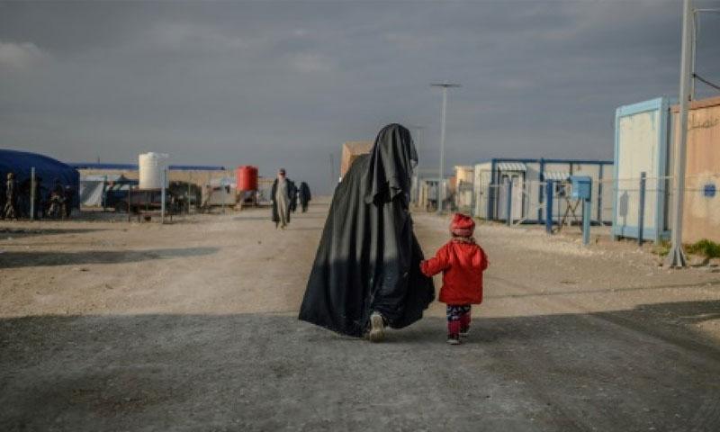 امرأة وطفل في مخيم الهول شرقي الحسكة (AFP)