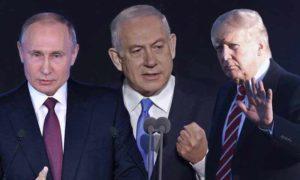 الرئيس الأمريكي دونالد ترامب ورئيس الوزراء الإسرائيلي بنيامين نتنياهو والرئيس الروسي فلاديمير بوتين (تعديل عنب بلدي)