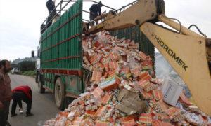 إتلاف مواد فاسدة في اعزاز بريف حلب - (اللجنة التموينية في اعزاز)