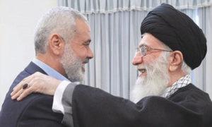 خامنئي مع رئيس المكتب السياسي لحماس اسماعيل هنية - (الميادين)