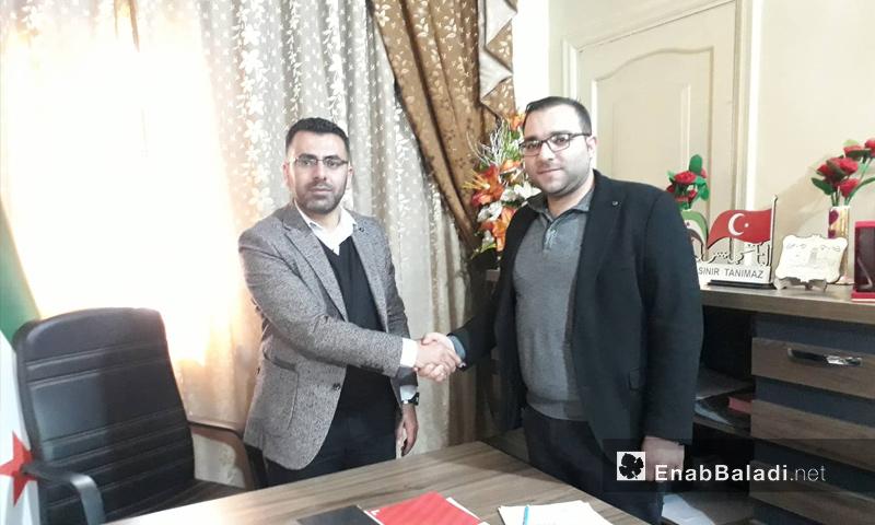 توقيع عقد إيصال الكهرباء إلى صوران بريف حلب - 6 من نيسان 2019 (عنب بلدي)
