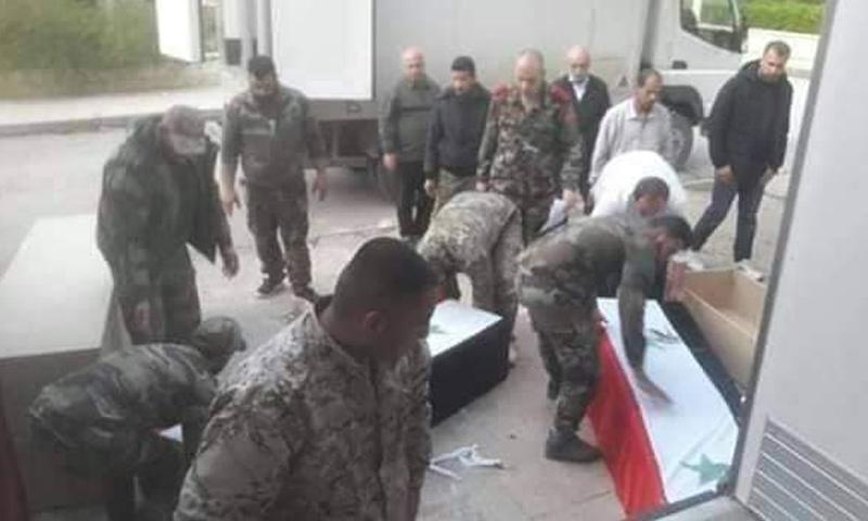 تشييع قتلى قوات النمر في ريف حماة الغربي بعد هجوم استهدف موقعًا لهم - 5 من نيسان 2019 (شبكة أخبار حمص)