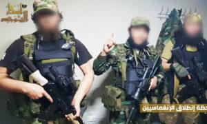 عناصر من فصيل أنصار التوحيد قبل بدء الهجوم ضد قوات الأسد في ريف حماة الشمالي - 9 من نيسان 2019 (أنصار التوحيد)