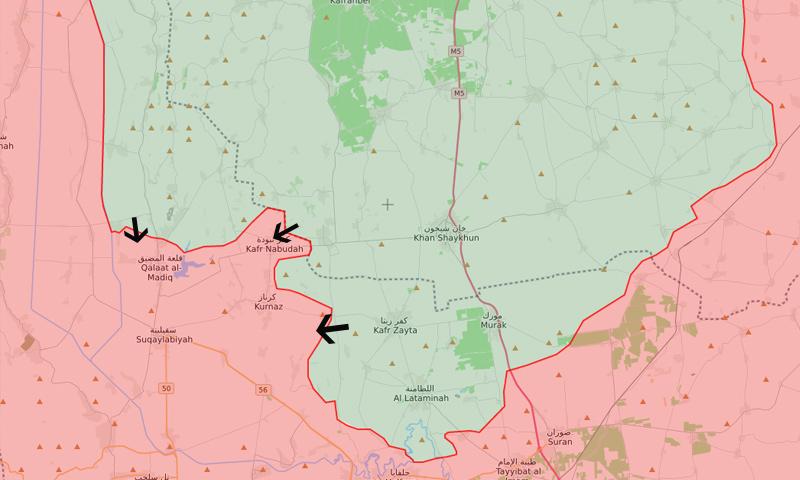 خريطة توضخ المحاور التي فتحتها فصائل المعارضة ضد قوات الأسد في ريف حماة - 10 من أيار 2019 (LM)