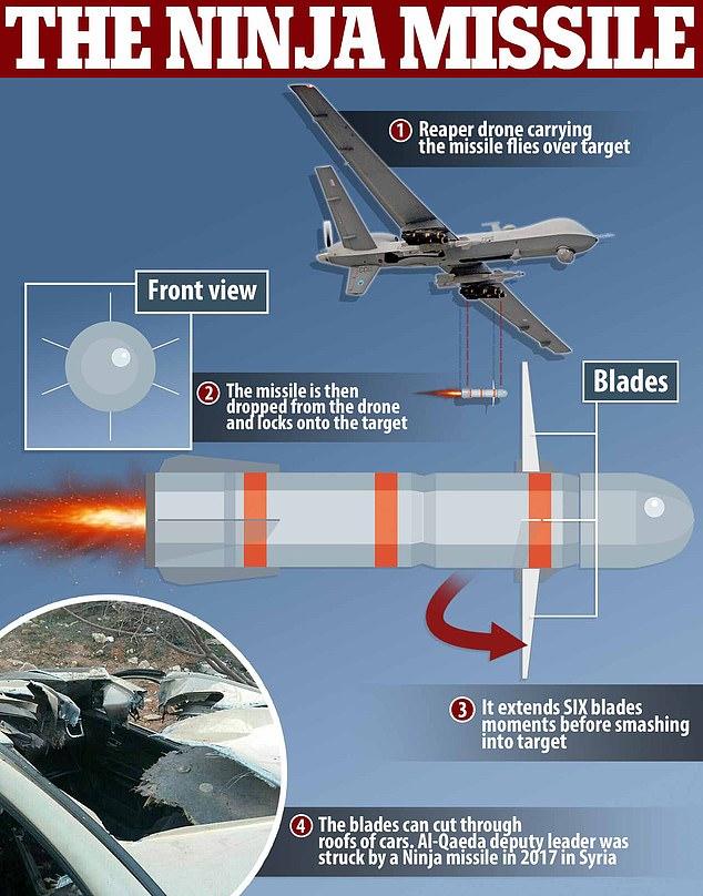 """رسم توضيح للصاروخ المعروف باسم """"قنبلة النينجا"""" تبين شفراته المحيطة برأسه الذي لا ينفجر عند إصابة الهدف (الوال ستريت جورنال)"""