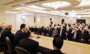 رئيس النظام السوري بشار الأسد يلقي خطبة بجمع من الأئمة ومشايخ في العاصمة السورية دمشق-21 من أيار 2019 (سانا)