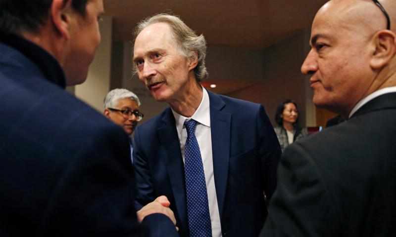 بيدرسون عقب اجتماع مجلس الأمن التابع للأمم المتحدة بشأن سوريا - 30 من نيسان 2019 (AP)