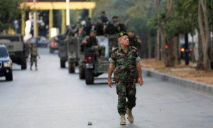 دوريات الجيش اللبناني أمام مبنى المحكمة في بيروت - لبنان 2017 (رويترز)