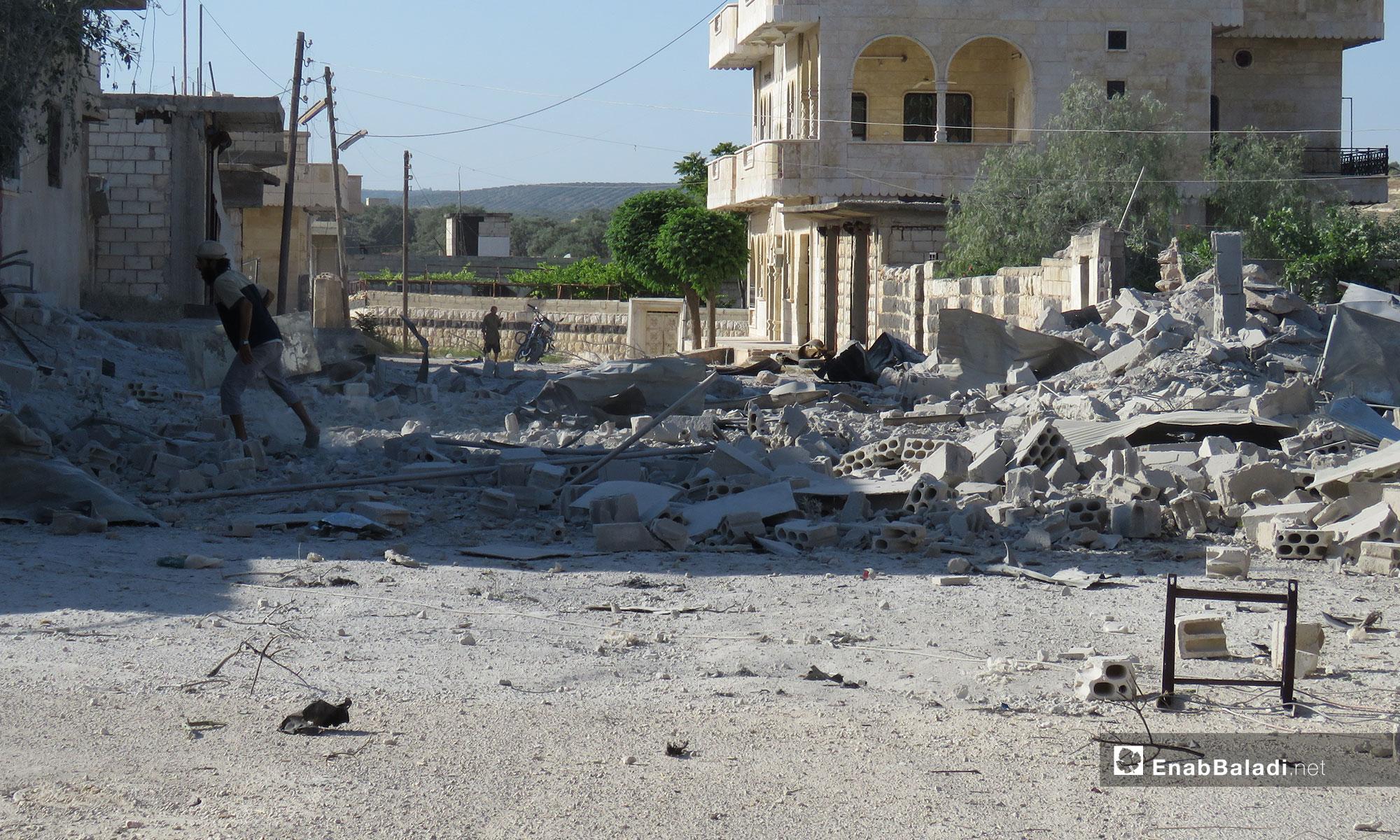 آثار الدمار في معرتحرمة بريف إدلب - 27 من أيار 2019 (عنب بلدي)