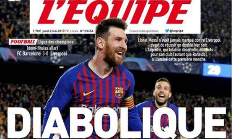 """غلاف صحيفة """"ليكيب"""" الفرنسية تتحدث فيه عن إنجاز ليونيل ميسي مع برشلونة أمام ليفربول في دوري أبطال أوروبا (ليكيب)"""