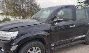 سيارة القائد العام لجيش الثوار بعد استهدافها بعبوة ناسفة في منبج - 1 من أيار 2019 (جيش الثوار)